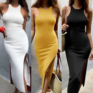 UK Women Sexy Split Elegant Dress Ladies Summer Sleeveless Party Bodycon Dresses