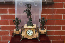 Antique French Bronze Marble Figurine Mantle  Clock mid 19c Before 1860