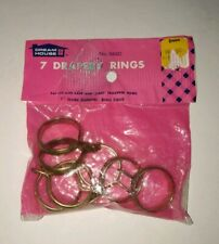 "Vintage Brass Curtain Drapery Clips Rings 7 Pc 1"" diameter for cafe' rods New"