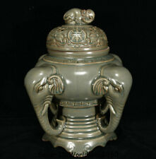 """10.8"""" Old Chinese Song Dynasty Longquan Green Porcelain Elephant Incense Burner"""