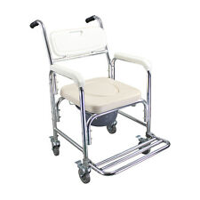 Duschstuhl Aluminium Duschsitz Badestuhl 360° Duschhocker mit Arm-& Rückenlehne