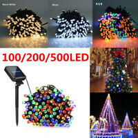 100 200 500 LED Solar Fairy Lights Strip String Outdoor Garden Light Party Xmas