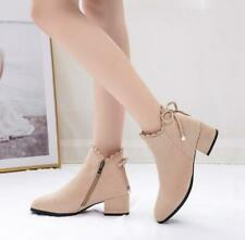 Womens Plus Size Booties Round Toe Block Mid-heel Faux Suede Ankle Boots s4-10.5