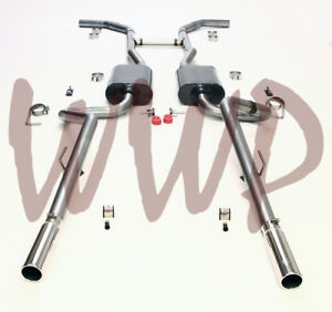 """Dual 2.50"""" Header Back Exhaust System /w Mufflers 55-57 Chevrolet Cars V8 Engine"""