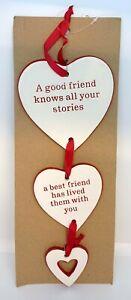 Best Friend Red Ceramic Triple Heart Hanging Plaque Good Friend Friendship Gift