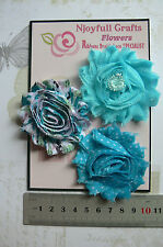 TURQUOISE Floral BLUE Fabric Organza 3 Flower Pk 55-60mm Njoyfull Crafts O6