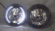 "97-16 Jeep Wrangler TJ JK 7"" LED Halo WHITE Round Black Chrome Clear Headlights"