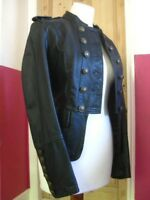 Ladies NEXT Black real Leather Jacket coat size UK 8 military steampunk goth
