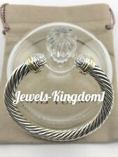 David Yurman Cable Classics Bracelet with Diamond Domes and 18K Gold 7mm