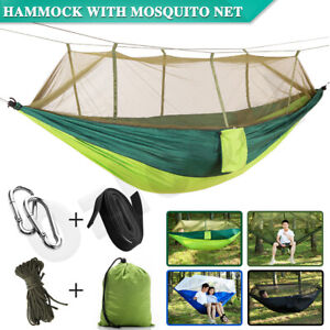 Hammock Double Person Outdoor Camping Garden Travel Beach Bed&Mosquito Net Swing