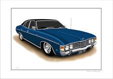 FORD  73'  76'  ZG  FAIRLANE  500  351 V8  LIMITED EDITION CAR PRINT  DRAWING