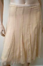 PAULE KA Cream Womens 100% Silk Crepe Pleated Kick Flare Hemline Skirt Sz:36 UK8