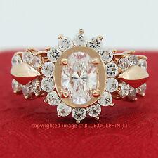 Genuine Solid 9ct Rose Gold Engagement Wedding Esteem Rings Simulated Diamonds
