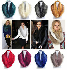 New Ladies Fluffy Winter Faux Fur Racoon Christmas Collar Scarf Shawl Wrap Stole