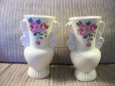 """Pair 2 Vintage Royal Copley White Two Handled 6"""" Vases With Pink Rose Flowers NM"""