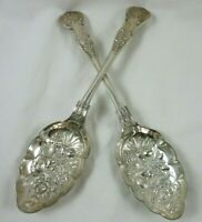 Vtg Barker Brothers Silverplate Queens Berry Casserole Repousse 2 Serving Spoons