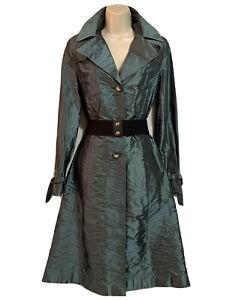 Glam Women's UK 10 Extreme Shine Raincoat Trench Coat Mac TV Metallic Sage Green