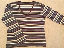 Long Sleeved Cotton V-Neck Top Stripped size (M)