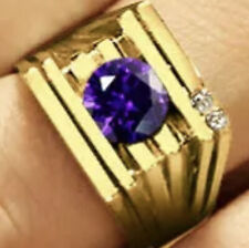 Gent's Tension Set Amethyst and Diamond Ring Preowned