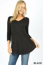 Womens 3/4 Sleeve T-Shirt V-Neck Casual Basic Tunic Top Long Loose Blouse
