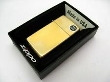 Zippo 1654 Slim High Polish Brass w/ Solid Brass Engraved Lid Windproof Lighter