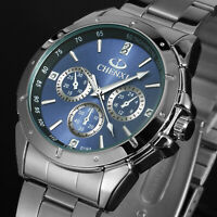 Mens Quartz Watch Blue Dial Silver Stainless Steel Case Analog Display Luxury