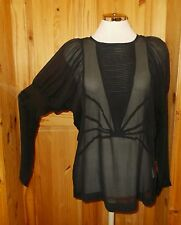 RUTZOU black silk chiffon batwing long sleeve tunic blouse top STEAMPUNK 40 12