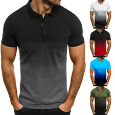 Men's T Shirt Summer 3D Gradient Blouse Casual Slim Fit Short Sleeve Polo Shirt
