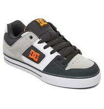 DC Pure SE Mens Grey Orange Leather Lace Up Skate Shoes Trainers Size UK 8-15