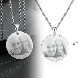 Personalised Photo/Text Engraving Round Necklace Pendant Chain Women Men Gift