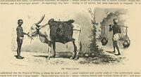 ANTIQUE INDIA INDIAN BOY WATER CARRIER OXEN COW WATER JUGS SMALL OLD ART PRINT