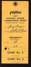 1977 NLCS Press Radio TV Pass at Philadelphia Phillies EX+