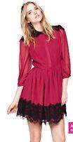 NEW Love Label Eyelash Lace Panel Shirt Dress, Magenta, UK 12