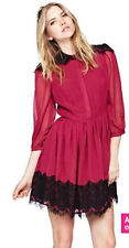 NEW Love Label Eyelash Lace Panel Shirt Dress, Magenta, UK 12