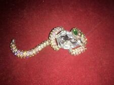 Entwined Around A Faceted Crystal Stunning Costume Brooch Depicting A Snake