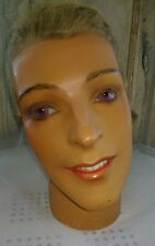 Vintage mannequin head,P.Imans,Paris nr:1540,plaster,glass eyes,real hair,teeth