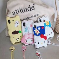 Cute Hello Kitty Melody Strap Silicone Case Cover for iPhone Xs Max Xr 7 8 Plus