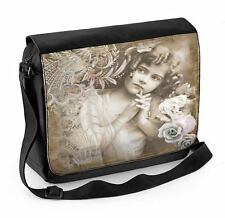Vintage Girl With Roses Laptop Messenger Bag - Floral Flowers