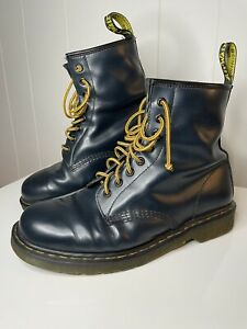 Dr Martens Air Wair 1460 W 8 Eye Dark Blue Leather Lace Up Boots Womens US 11