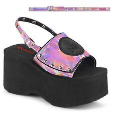 """Demonia 3.5"""" Platform Slingback Pink Hologram Skull Sandals Flip Flops Goth 6-10"""