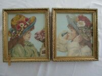 "VTG Framed Wool Needlepoint PETIT POINT PICTURES, LOT OF 2, ""SISTERS"", 12 X 14,"