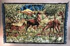 """VINTAGE 1970s WALL TAPESTRY WILDLIFE DEER DOE BUCK FAWN 45"""" X 73""""  From Italy"""