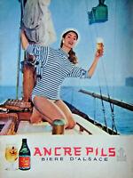 PUBLICITÉ 1957 BIÈRE ANCRE PILS STRASBOURG D'ALSACE - VOILIER BATEAU MER MATELOT