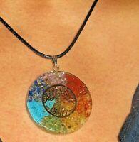 Orgone Energy Pendant Necklace Tree Of Life 7 Chakra Healing Stones Orgonite