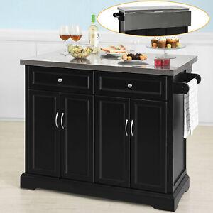 SoBuy Kücheninsel Küchenwagen mit Edelstahlarbeitsplatte Küchenschrank FKW71-SCH