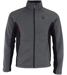 Spyder Men's Steller Full Zip Jacket (Medium) Polar Gray & Black