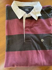 New Mens American Eagle Rugby Shirt Long Sleeve Xxl Black and Maroon Strip