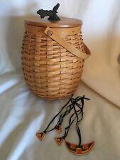 Longaberger 2000 October Fields Basket Combo w Lid Face Pieces & Plastic Liner