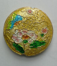 Round CLOISONNE Focal Bead, Pivoine, Or/Rose, 34 mm, fabrication de bijoux/perles