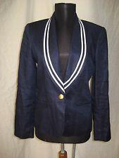 Ralph Lauren 100% Linen Nautical Marine Sailor Navy Blue White Blazer Jacket 4P